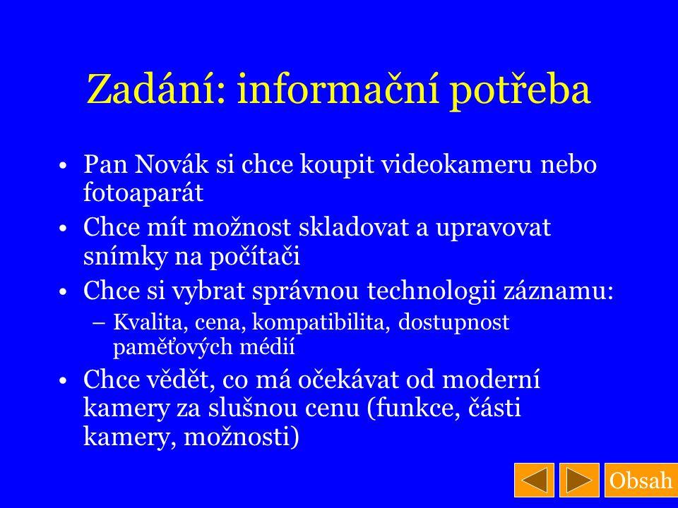 Obsah Zadání: informační potřeba Pan Novák si chce koupit videokameru nebo fotoaparát Chce mít možnost skladovat a upravovat snímky na počítači Chce s