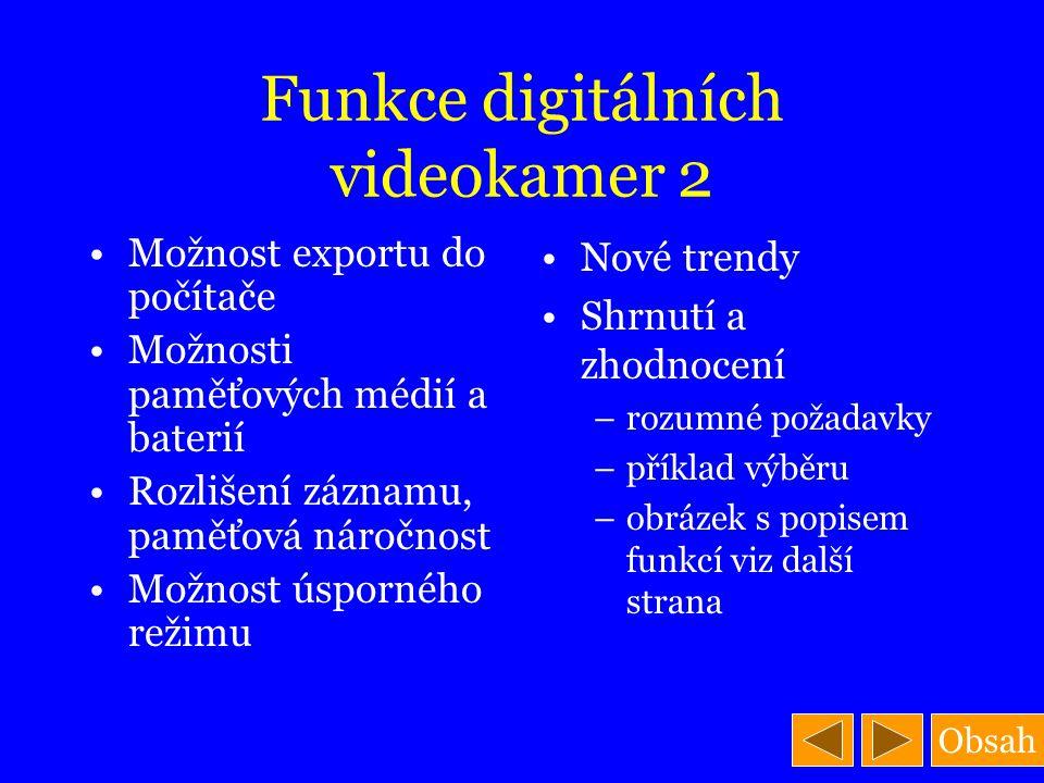 Obsah Funkce digitálních videokamer 2 Možnost exportu do počítače Možnosti paměťových médií a baterií Rozlišení záznamu, paměťová náročnost Možnost ús