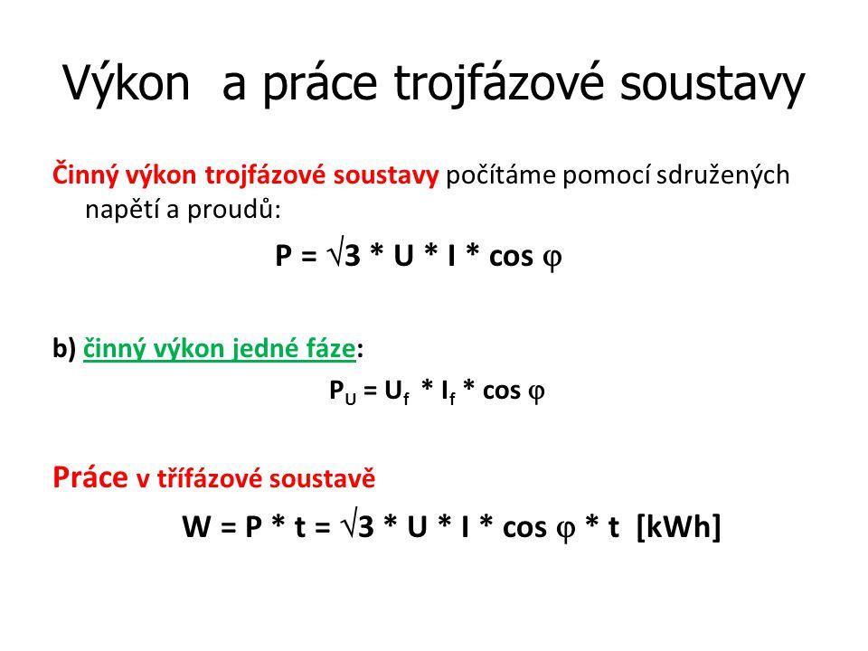 Výkon a práce trojfázové soustavy Činný výkon trojfázové soustavy počítáme pomocí sdružených napětí a proudů: P =  3 * U * I * cos  b) činný výkon j