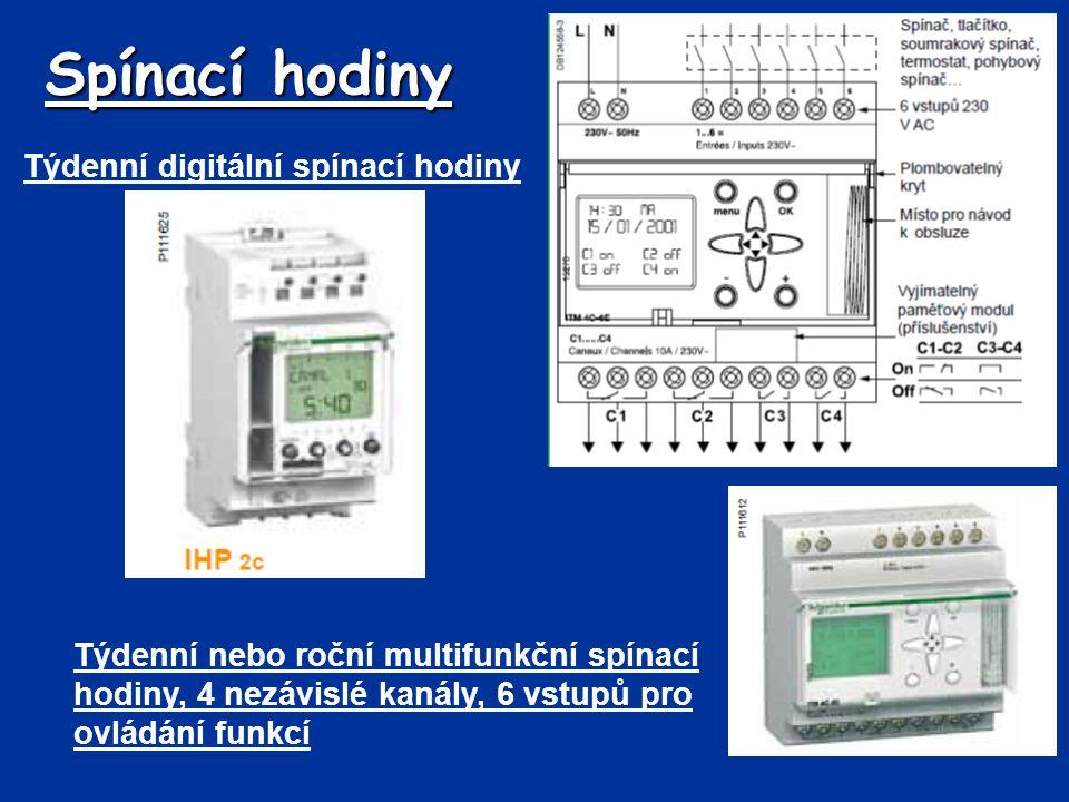 Spínací hodiny Týdenní digitální spínací hodiny Týdenní nebo roční multifunkční spínací hodiny, 4 nezávislé kanály, 6 vstupů pro ovládání funkcí
