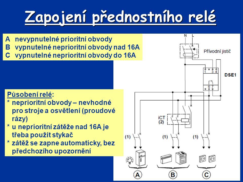 Zapojení přednostního relé Anevypnutelné prioritní obvody Bvypnutelné neprioritní obvody nad 16A Cvypnutelné neprioritní obvody do 16A Působení relé: *neprioritní obvody – nevhodné pro stroje a osvětlení (proudové rázy) *u neprioritní zátěže nad 16A je třeba použít stykač *zátěž se zapne automaticky, bez předchozího upozornění