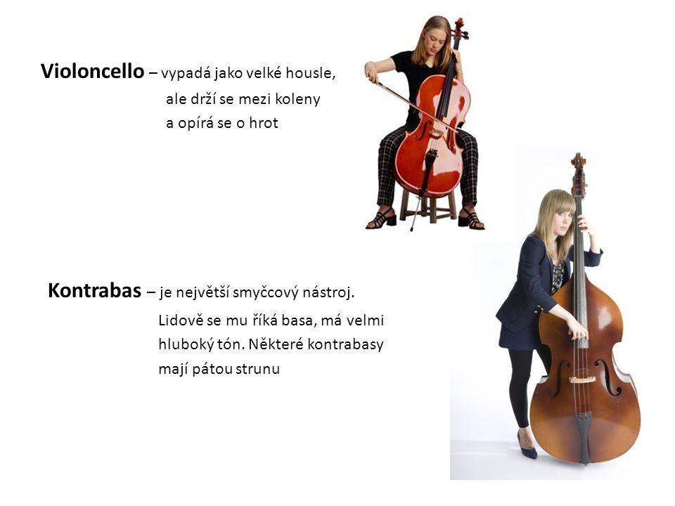Violoncello – vypadá jako velké housle, ale drží se mezi koleny a opírá se o hrot Kontrabas – je největší smyčcový nástroj. Lidově se mu říká basa, má
