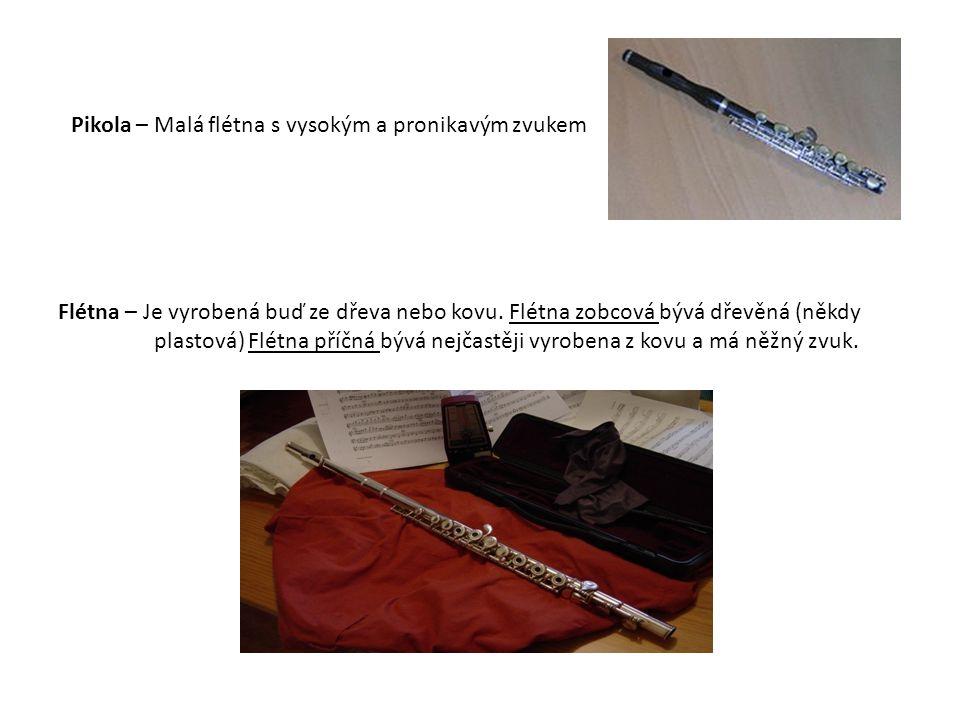 Flétna – Je vyrobená buď ze dřeva nebo kovu. Flétna zobcová bývá dřevěná (někdy plastová) Flétna příčná bývá nejčastěji vyrobena z kovu a má něžný zvu