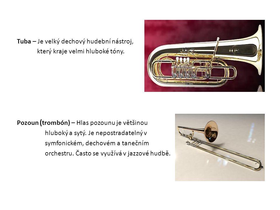 Tuba – Je velký dechový hudební nástroj, který kraje velmi hluboké tóny. Pozoun ( trombón) – Hlas pozounu je většinou hluboký a sytý. Je nepostradatel