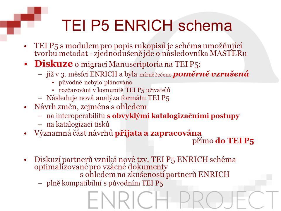 TEI P5 s modulem pro popis rukopisů je schéma umožňující tvorbu metadat - zjednodušeně jde o následovníka MASTERu Diskuze o migraci Manuscriptoria na TEI P5: –již v 3.