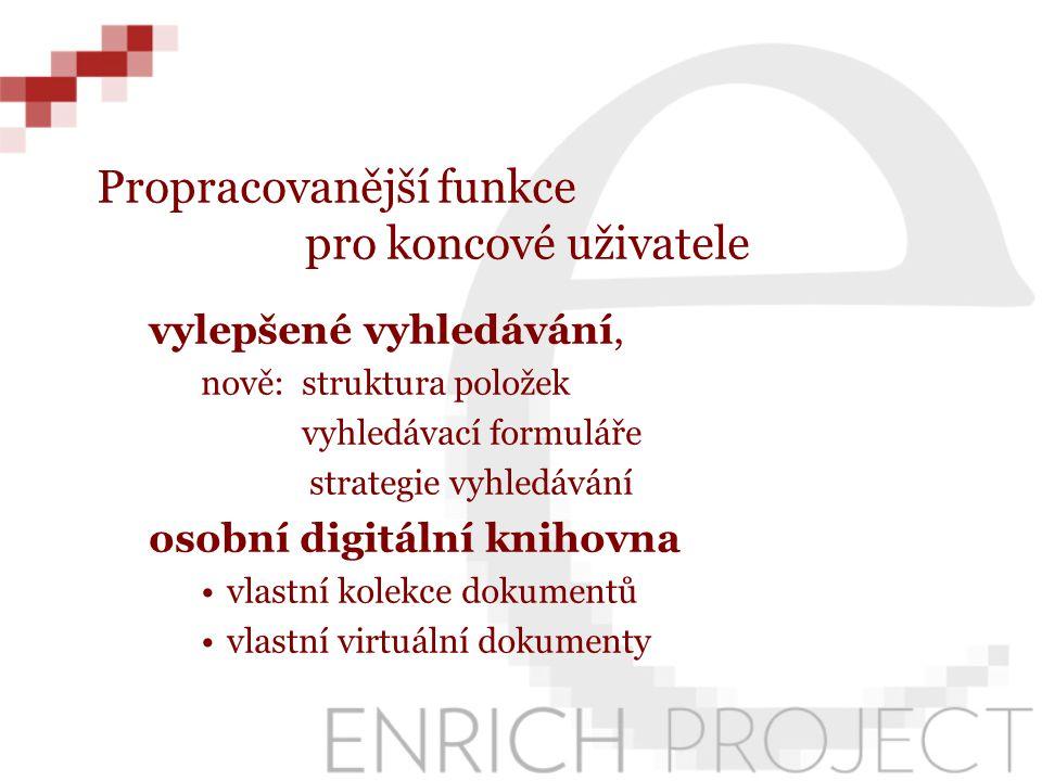 Propracovanější funkce pro koncové uživatele vylepšené vyhledávání, nově: struktura položek vyhledávací formuláře strategie vyhledávání osobní digitální knihovna vlastní kolekce dokumentů vlastní virtuální dokumenty