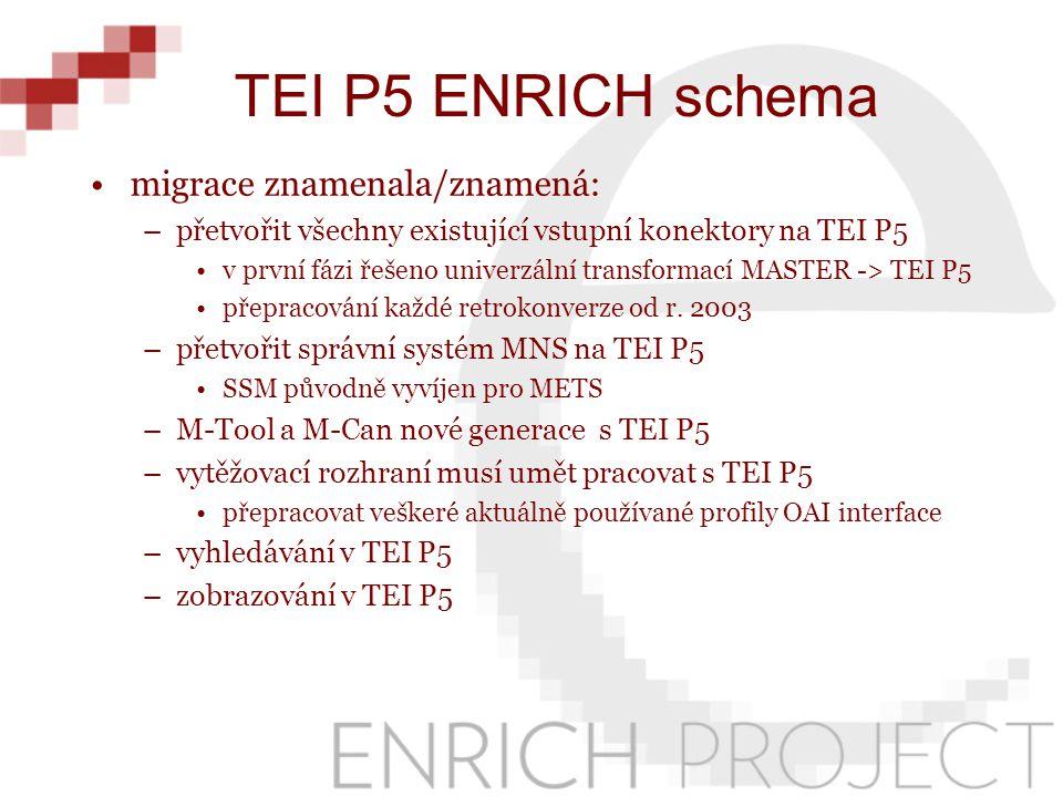 migrace znamenala/znamená: –přetvořit všechny existující vstupní konektory na TEI P5 v první fázi řešeno univerzální transformací MASTER -> TEI P5 přepracování každé retrokonverze od r.