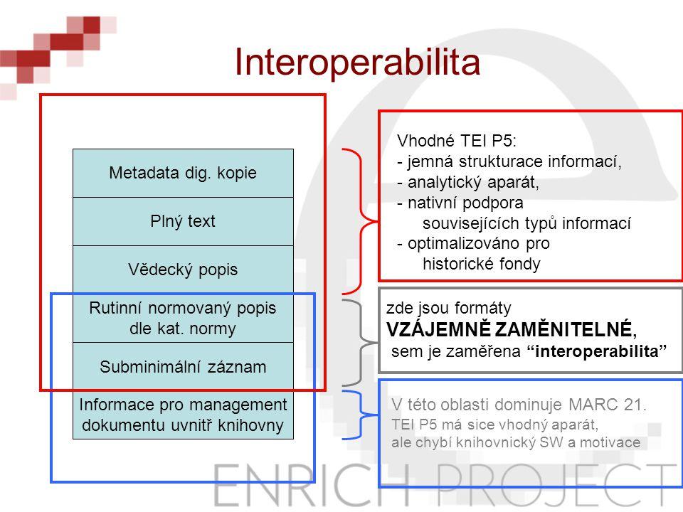 Informace pro management dokumentu uvnitř knihovny Subminimální záznam Rutinní normovaný popis dle kat.