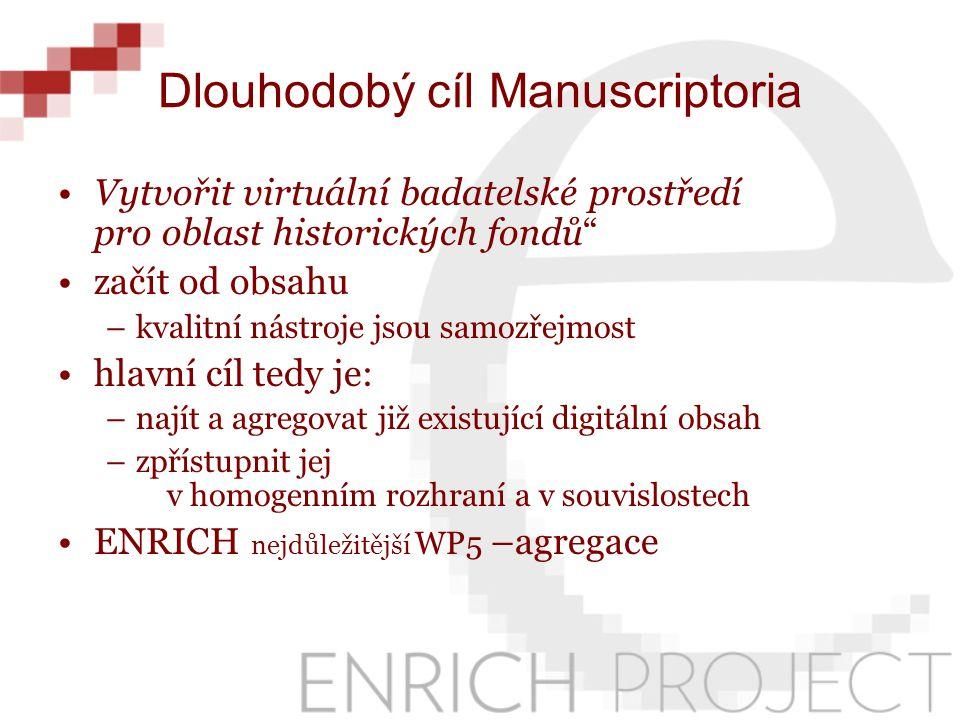 ENRICH a Manuscriptorium priority z hlediska agregace: –připojování existujících zdrojů hromadnými importy –integrace i menších zdrojů –podporu vzniku nových digitálních dokumentů