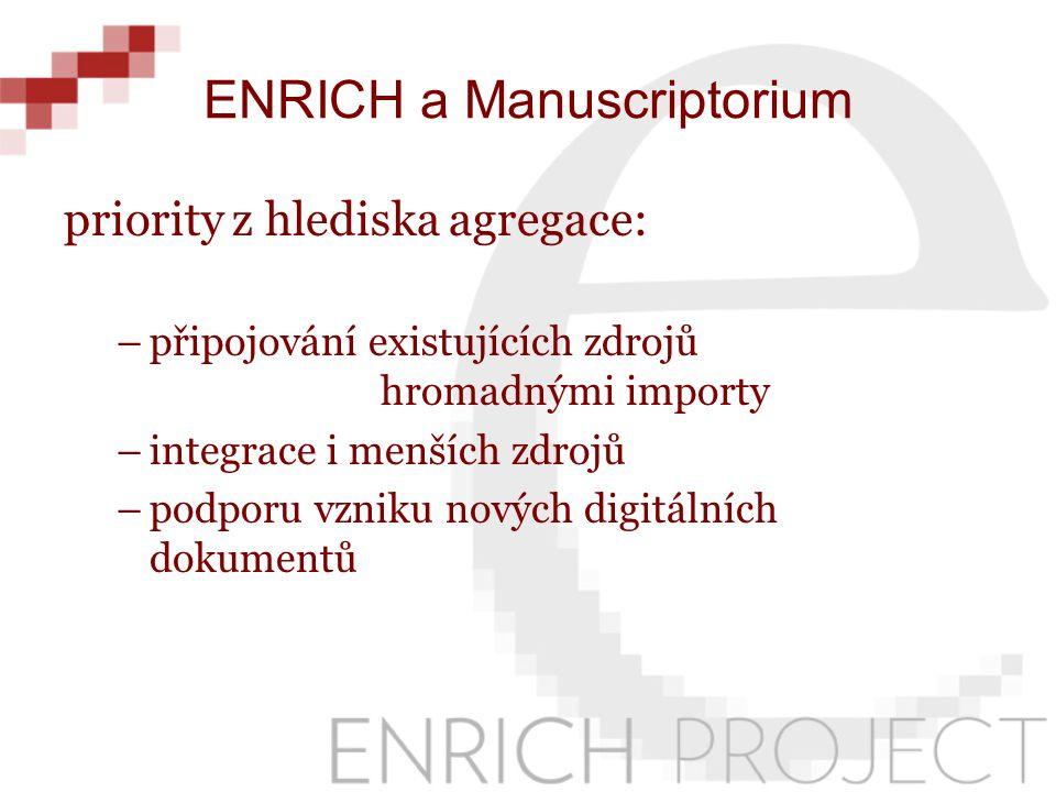 ENRICH a Manuscriptorium priority z hlediska agregace: –připojování existujících zdrojů hromadnými importy –integrace i menších zdrojů –podporu vzniku