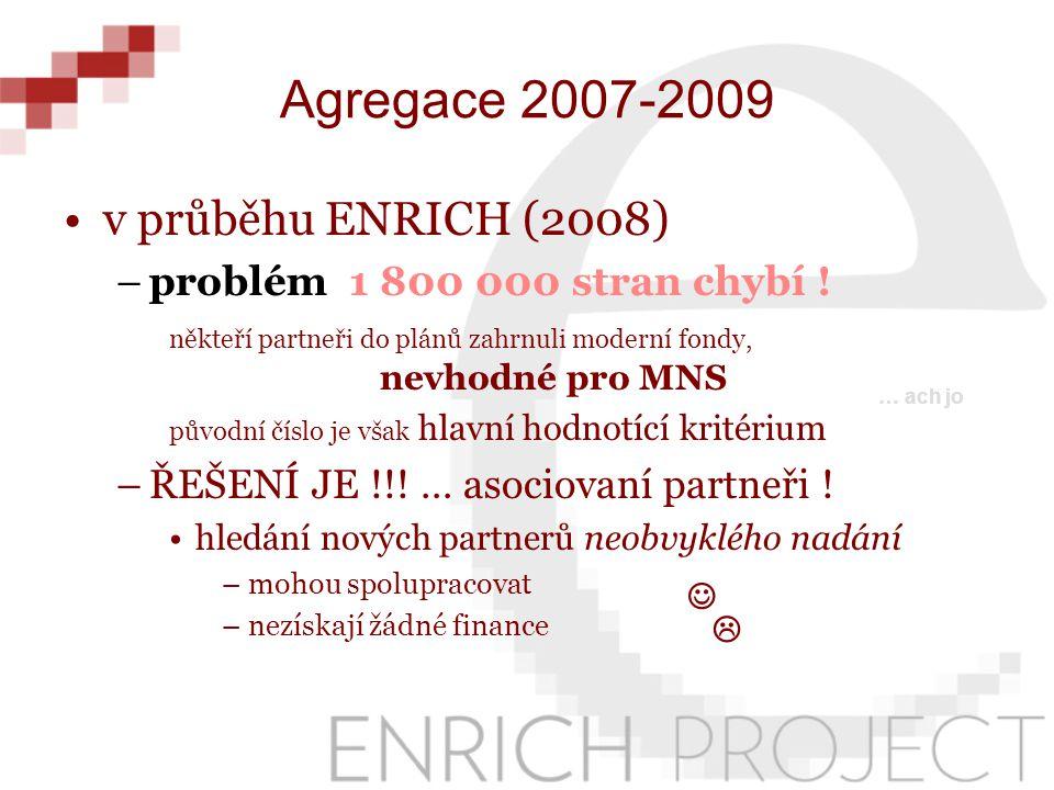Agregace 2007-2009 v průběhu ENRICH (2008) –problém 1 800 000 stran chybí .