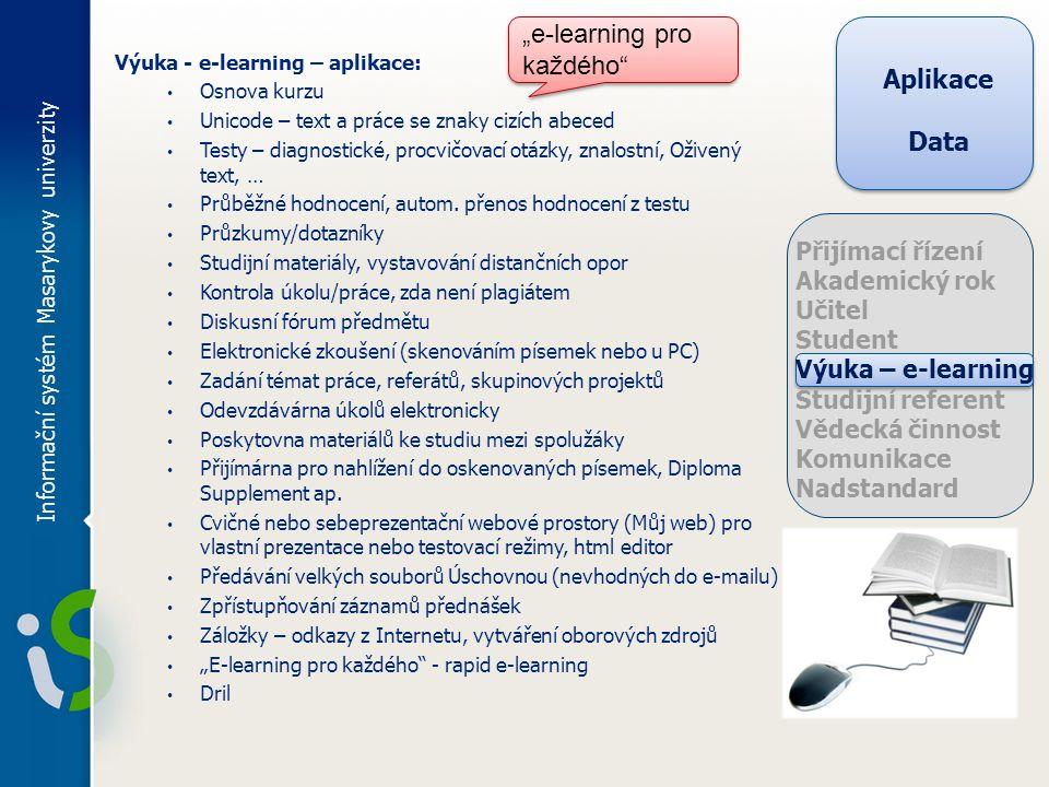 Informační systém Masarykovy univerzity Výuka - e-learning – aplikace: Osnova kurzu Unicode – text a práce se znaky cizích abeced Testy – diagnostické, procvičovací otázky, znalostní, Oživený text, … Průběžné hodnocení, autom.