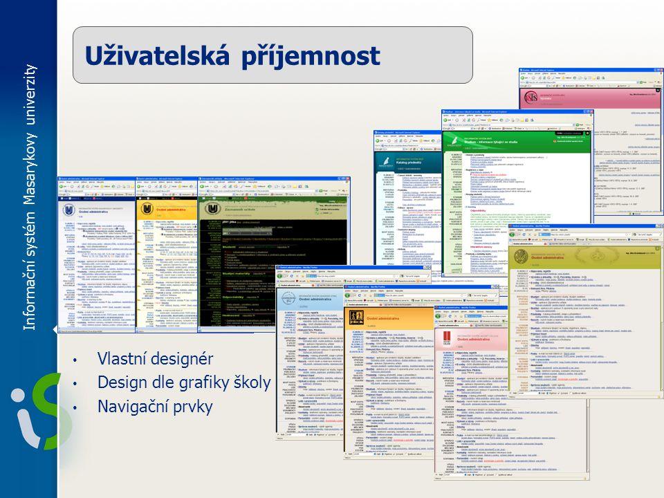 Informační systém Masarykovy univerzity Uživatelská příjemnost Vlastní designér Design dle grafiky školy Navigační prvky