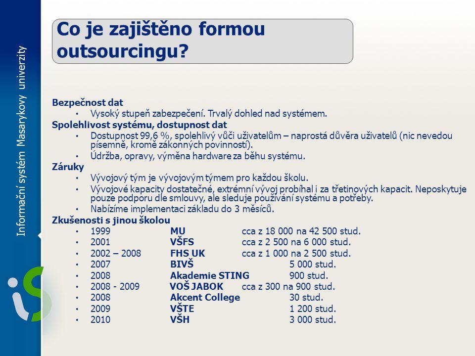 Informační systém Masarykovy univerzity Co je zajištěno formou outsourcingu.