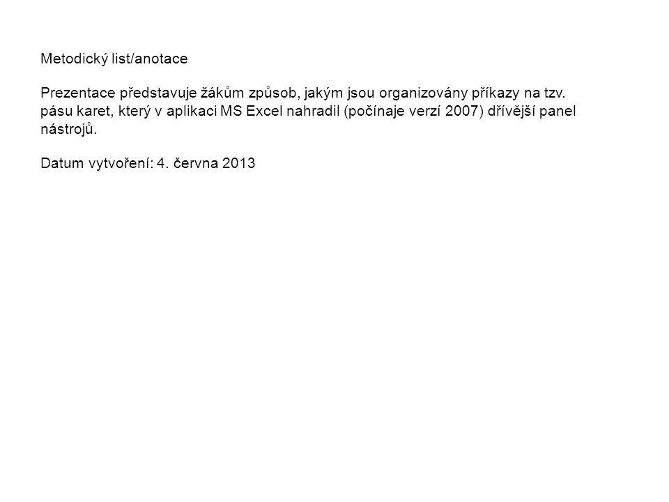 Metodický list/anotace Prezentace představuje žákům způsob, jakým jsou organizovány příkazy na tzv.
