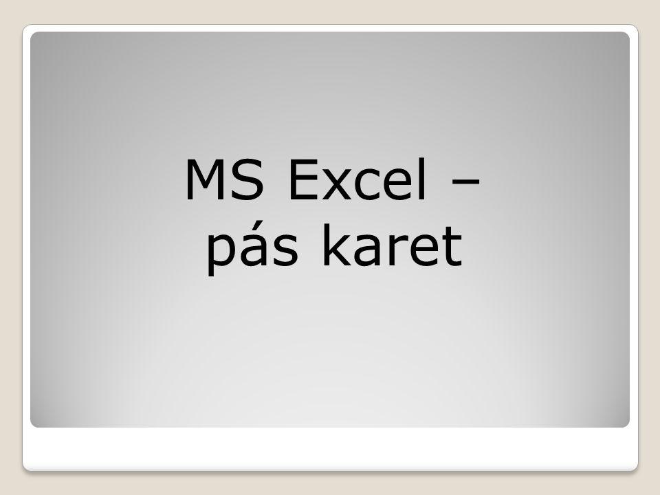 MS Excel – pás karet