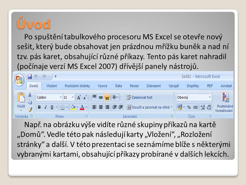 Úvod Po spuštění tabulkového procesoru MS Excel se otevře nový sešit, který bude obsahovat jen prázdnou mřížku buněk a nad ní tzv. pás karet, obsahují
