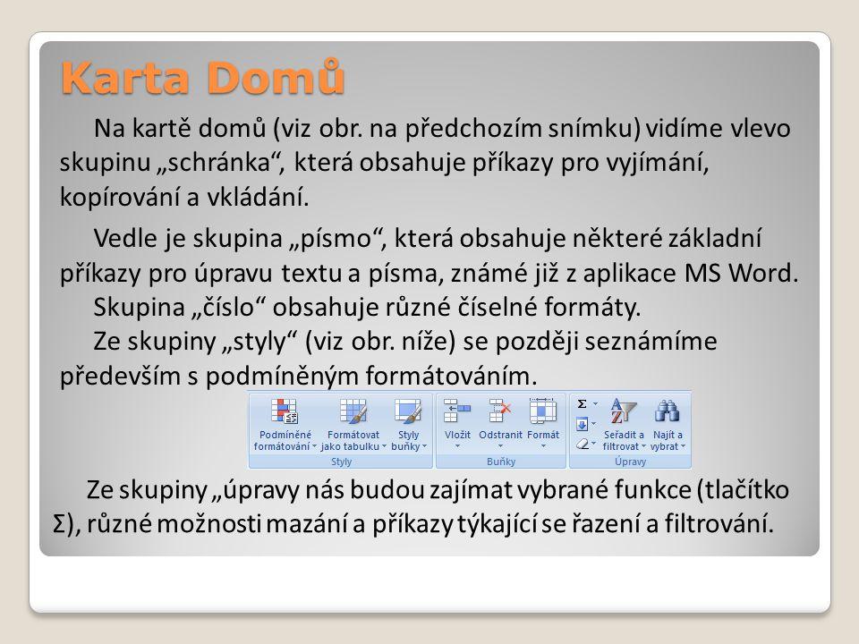 """Karta Domů Na kartě domů (viz obr. na předchozím snímku) vidíme vlevo skupinu """"schránka"""", která obsahuje příkazy pro vyjímání, kopírování a vkládání."""