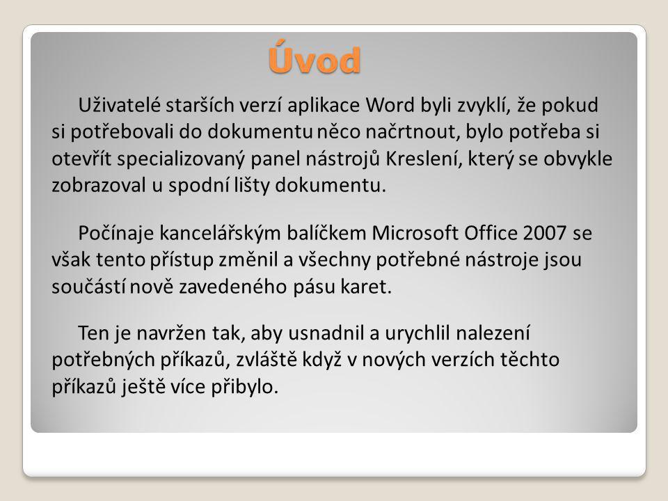 Úvod Uživatelé starších verzí aplikace Word byli zvyklí, že pokud si potřebovali do dokumentu něco načrtnout, bylo potřeba si otevřít specializovaný panel nástrojů Kreslení, který se obvykle zobrazoval u spodní lišty dokumentu.