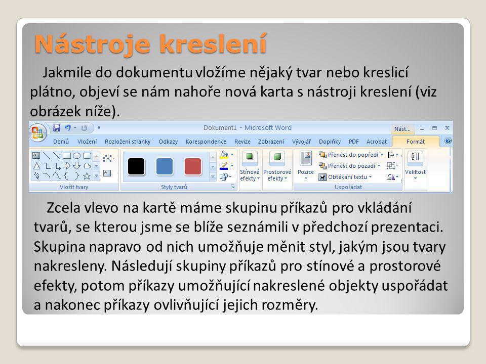 Nástroje kreslení Jakmile do dokumentu vložíme nějaký tvar nebo kreslicí plátno, objeví se nám nahoře nová karta s nástroji kreslení (viz obrázek níže).