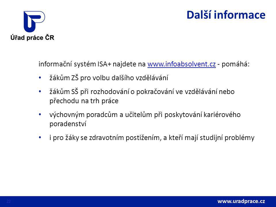 22 informační systém ISA+ najdete na www.infoabsolvent.cz - pomáhá:www.infoabsolvent.cz žákům ZŠ pro volbu dalšího vzdělávání žákům SŠ při rozhodování