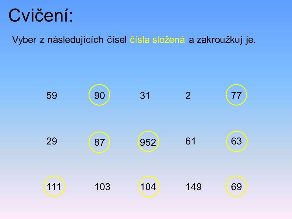 Cvičení: Vyber z následujících čísel čísla složená a zakroužkuj je.