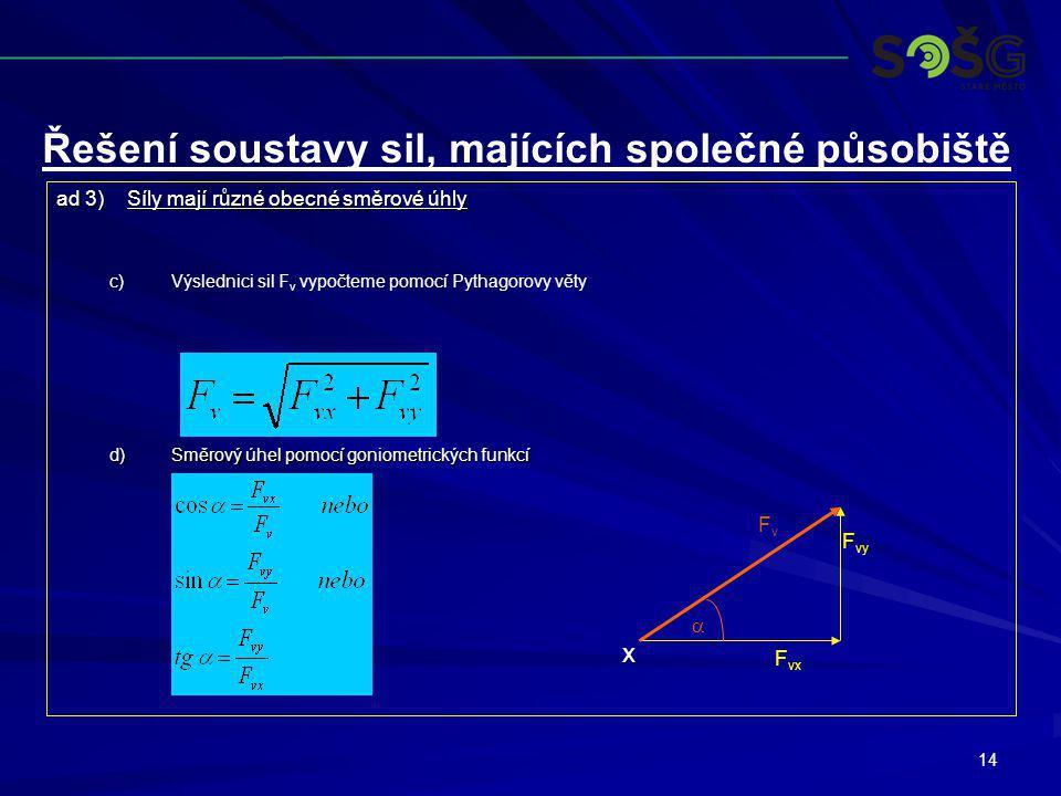 14 ad 3)Síly mají různé obecné směrové úhly c) c)Výslednici sil F v vypočteme pomocí Pythagorovy věty d)Směrový úhel pomocí goniometrických funkcí Řeš