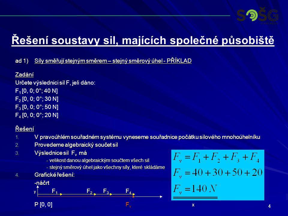 4 ad 1)Síly směřují stejným směrem – stejný směrový úhel - PŘÍKLAD Zadání Určete výslednici sil F, jeli dáno: F 1 [0, 0; 0°; 40 N] F 2 [0, 0; 0°; 30 N
