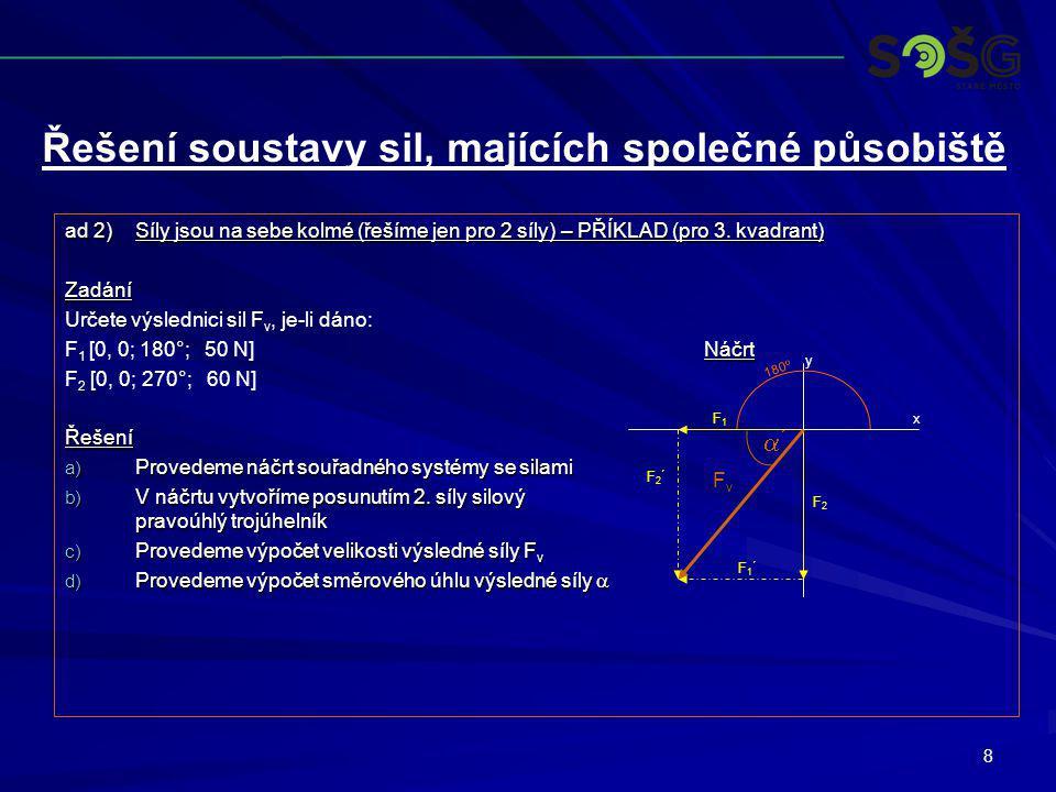 8 ad 2)Síly jsou na sebe kolmé (řešíme jen pro 2 síly) – PŘÍKLAD (pro 3. kvadrant) Zadání Určete výslednici sil F v, je-li dáno: Náčrt F 1 [0, 0; 180°