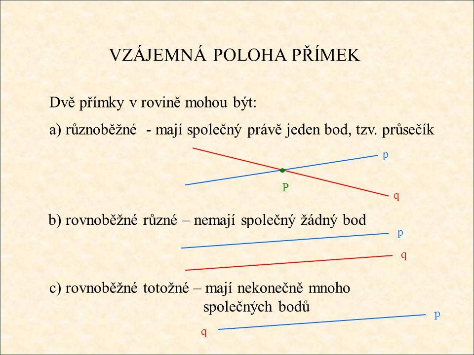 VZÁJEMNÁ POLOHA PŘÍMEK Dvě přímky v rovině mohou být: a) různoběžné - mají společný právě jeden bod, tzv. průsečík b) rovnoběžné různé – nemají společ