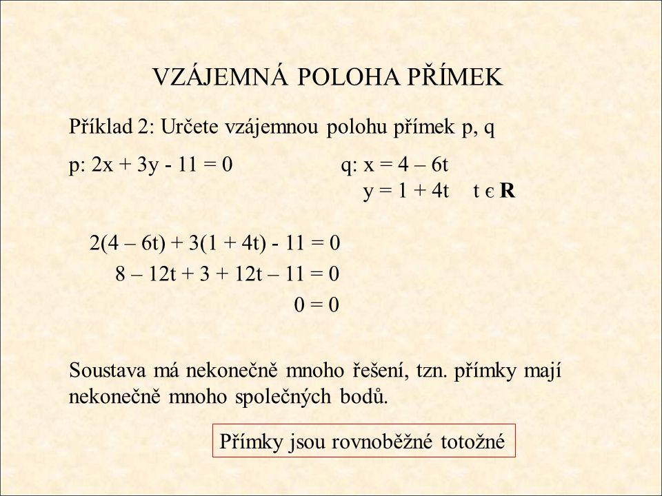 VZÁJEMNÁ POLOHA PŘÍMEK Příklad 2: Určete vzájemnou polohu přímek p, q p: 2x + 3y - 11 = 0q: x = 4 – 6t y = 1 + 4tt є R 2(4 – 6t) + 3(1 + 4t) - 11 = 0 Soustava má nekonečně mnoho řešení, tzn.