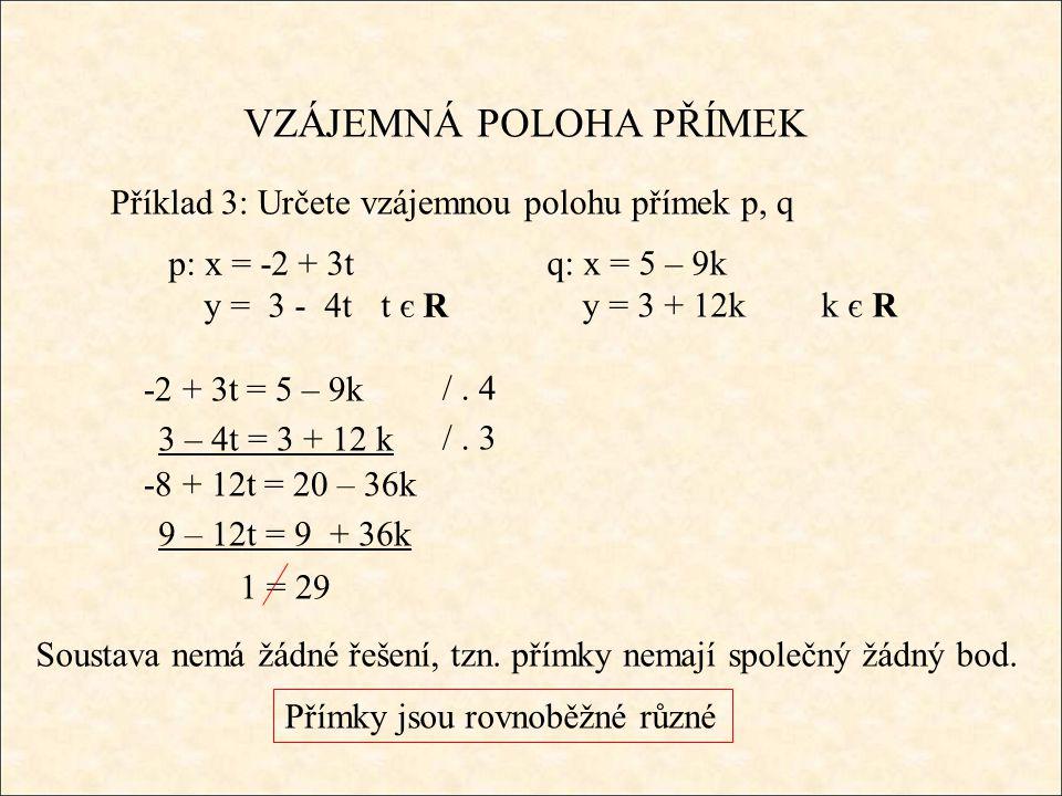 VZÁJEMNÁ POLOHA PŘÍMEK Příklad 3: Určete vzájemnou polohu přímek p, q q: x = 5 – 9k y = 3 + 12k k є R -2 + 3t = 5 – 9k Soustava nemá žádné řešení, tzn