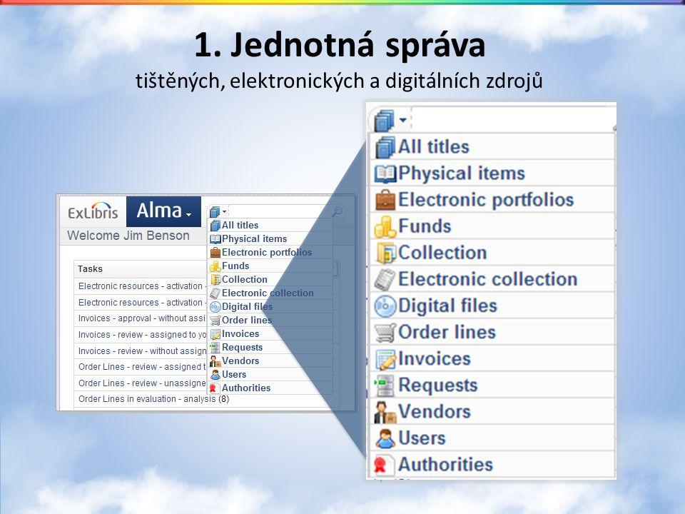 1. Jednotná správa tištěných, elektronických a digitálních zdrojů
