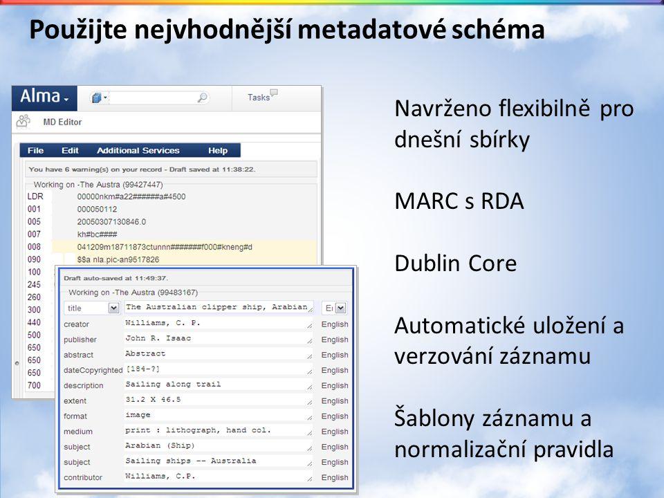 Použijte nejvhodnější metadatové schéma Navrženo flexibilně pro dnešní sbírky MARC s RDA Dublin Core Automatické uložení a verzování záznamu Šablony záznamu a normalizační pravidla