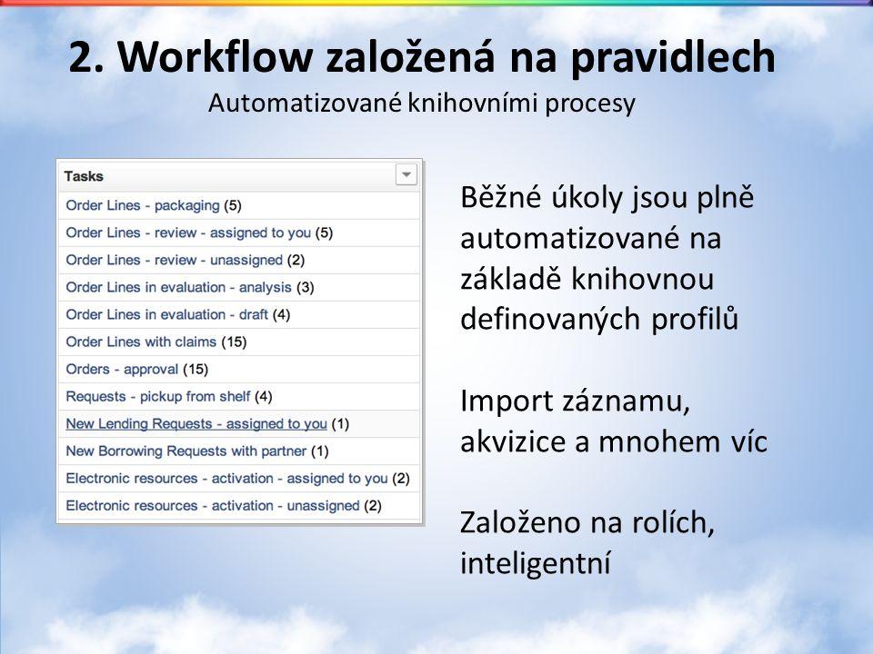 2. Workflow založená na pravidlech Automatizované knihovními procesy Běžné úkoly jsou plně automatizované na základě knihovnou definovaných profilů Im