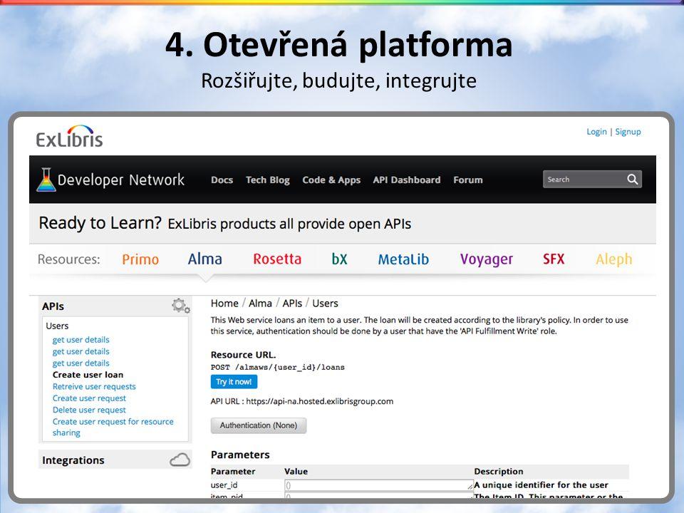 4. Otevřená platforma Rozšiřujte, budujte, integrujte