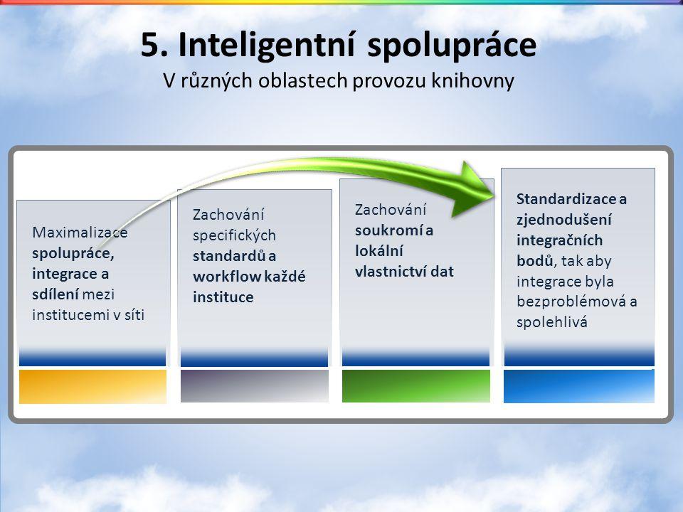 5. Inteligentní spolupráce V různých oblastech provozu knihovny Zachování specifických standardů a workflow každé instituce Zachování soukromí a lokál