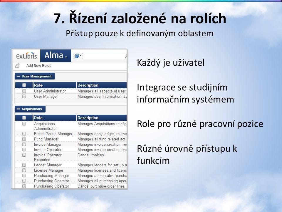 7. Řízení založené na rolích Přístup pouze k definovaným oblastem Každý je uživatel Integrace se studijním informačním systémem Role pro různé pracovn