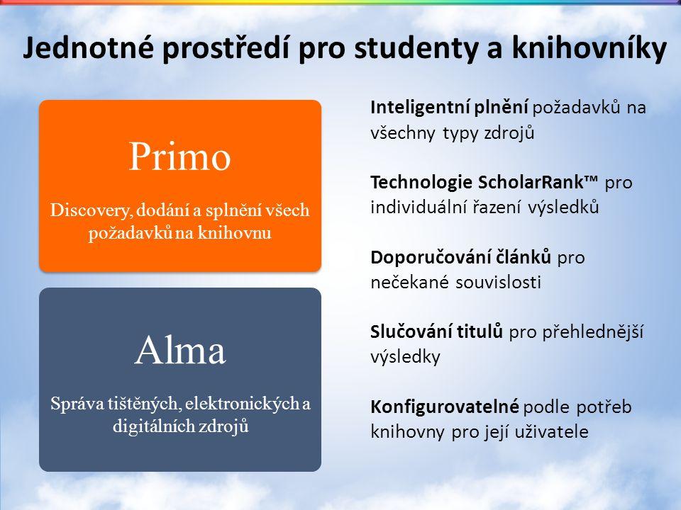 Alma Správa tištěných, elektronických a digitálních zdrojů Primo Discovery, dodání a splnění všech požadavků na knihovnu Primo Discovery, dodání a splnění všech požadavků na knihovnu Jednotné prostředí pro studenty a knihovníky Inteligentní plnění požadavků na všechny typy zdrojů Technologie ScholarRank™ pro individuální řazení výsledků Doporučování článků pro nečekané souvislosti Slučování titulů pro přehlednější výsledky Konfigurovatelné podle potřeb knihovny pro její uživatele