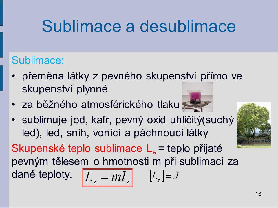 Sublimace a desublimace Sublimace: přeměna látky z pevného skupenství přímo ve skupenství plynné za běžného atmosférického tlaku sublimuje jod, kafr,
