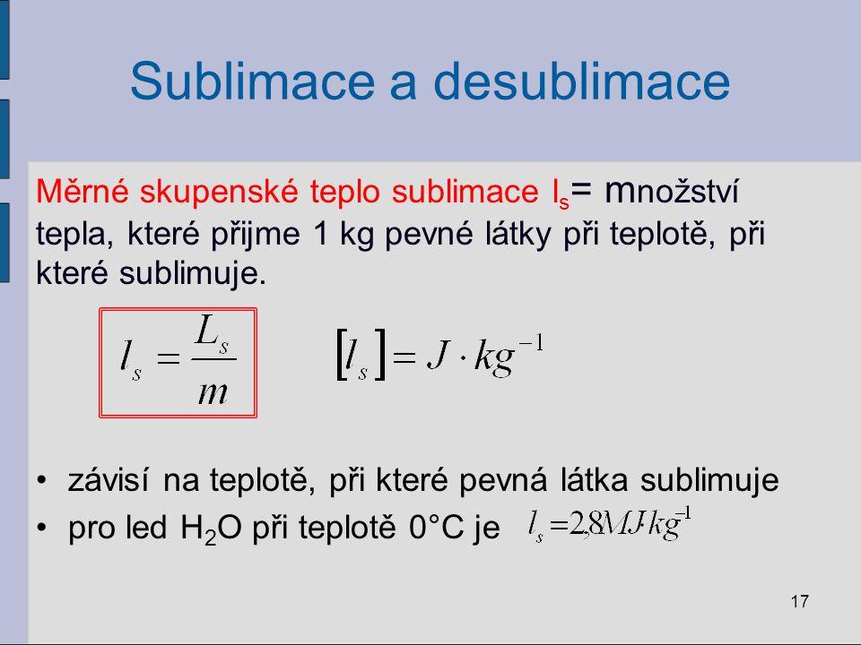 Sublimace a desublimace Měrné skupenské teplo sublimace l s = m nožství tepla, které přijme 1 kg pevné látky při teplotě, při které sublimuje. závisí