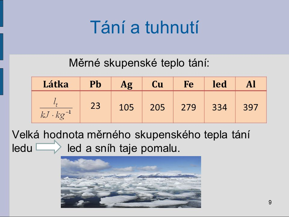 Tání a tuhnutí Měrné skupenské teplo tání: Velká hodnota měrného skupenského tepla tání ledu led a sníh taje pomalu. 9 LátkaPbAgCuFeledAl 23 105205279