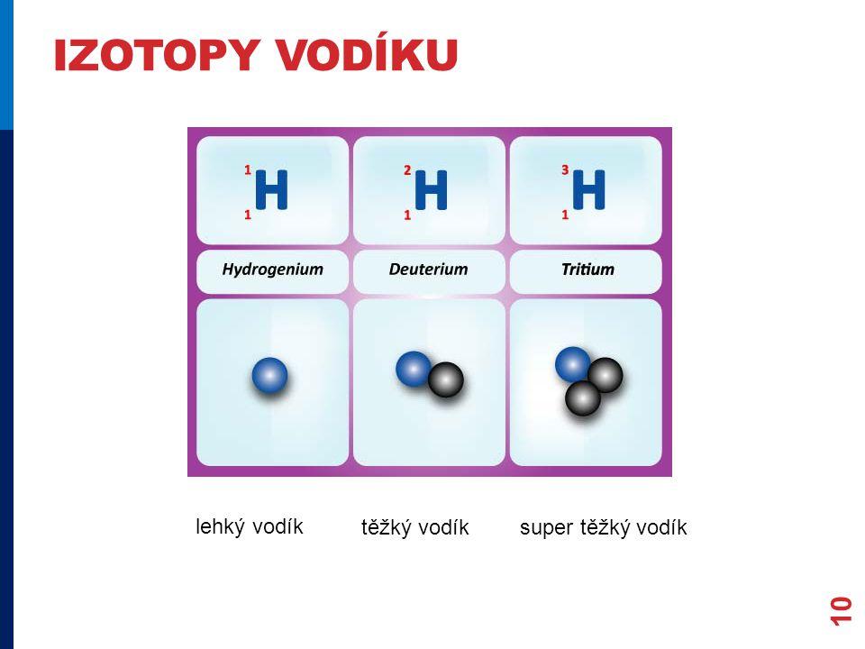 IZOTOPY VODÍKU 10 lehký vodík těžký vodíksuper těžký vodík