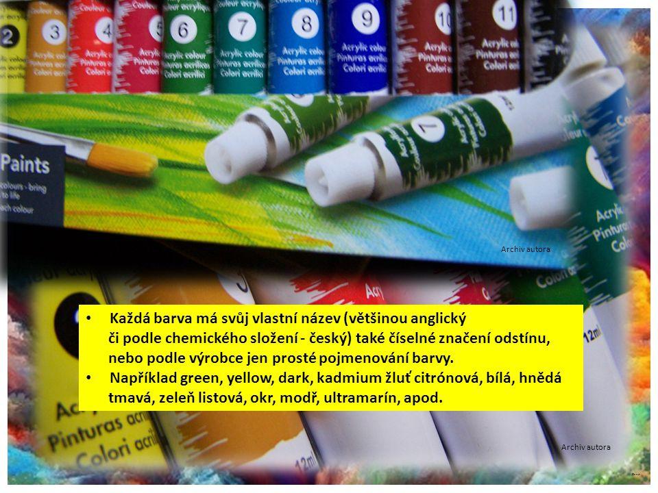 ©c.zuk Akrylové barvy Archiv autora Každá barva má svůj vlastní název (většinou anglický či podle chemického složení - český) také číselné značení odstínu, nebo podle výrobce jen prosté pojmenování barvy.