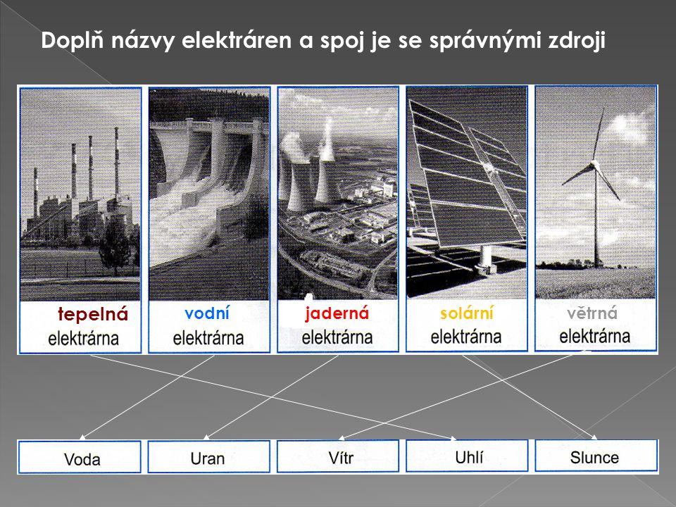 Doplň názvy elektráren a spoj je se správnými zdroji