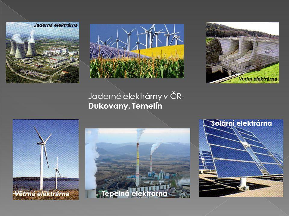 2. ENERGETICKÝ PRŮMYSL ElektrárnaZdroj JadernáUran VětrnáVítr- proud vzduchu VodníProud vody SolárníSluneční světlo TepelnáUhlí K výrobě el. energie m