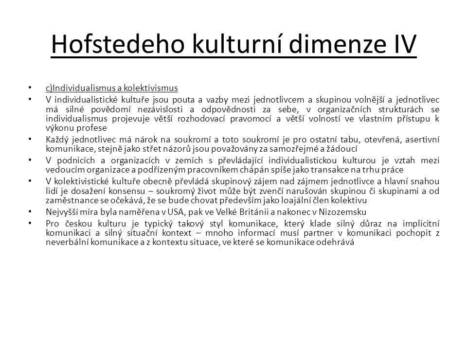 Hofstedeho kulturní dimenze IV c)Individualismus a kolektivismus V individualistické kultuře jsou pouta a vazby mezi jednotlivcem a skupinou volnější