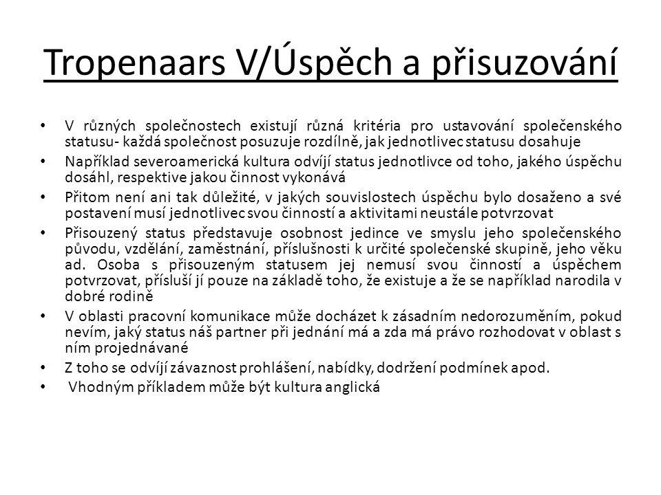 Tropenaars V/Úspěch a přisuzování V různých společnostech existují různá kritéria pro ustavování společenského statusu- každá společnost posuzuje rozd