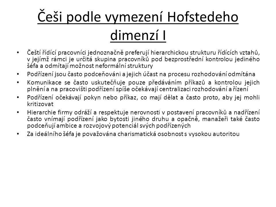 Češi podle vymezení Hofstedeho dimenzí I Čeští řídící pracovníci jednoznačně preferují hierarchickou strukturu řídících vztahů, v jejímž rámci je urči