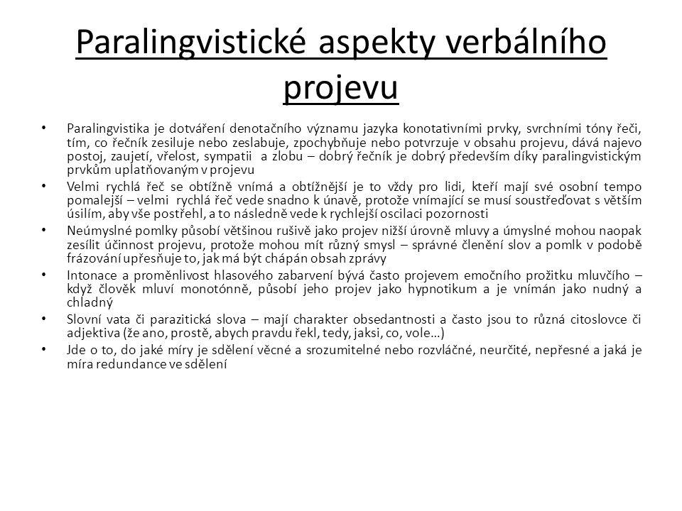 Paralingvistické aspekty verbálního projevu Paralingvistika je dotváření denotačního významu jazyka konotativními prvky, svrchními tóny řeči, tím, co